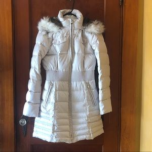 Off white jacket with faux fur detachable hood
